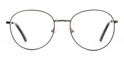 Metal Weightless Round Glasses Burgundy and Silver
