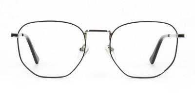 Lightweight Black & Silver Geometric Glasses