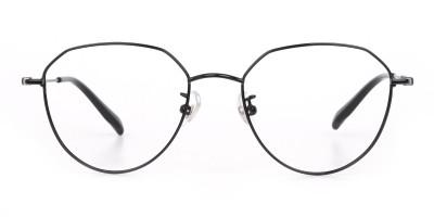 Black Metal Aviator Frames Glasses Unisex