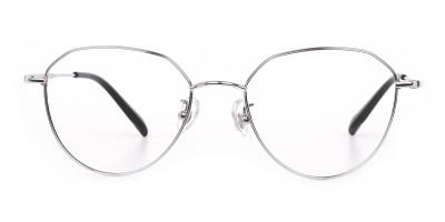 Silver Metal Aviator Glasses Frame Unisex