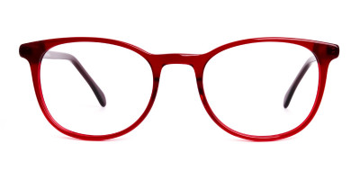 Wine Red Translucent Round Glasses Frames