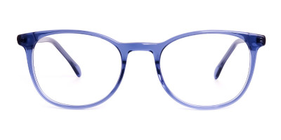 Dark Blue Round Glasses Frames