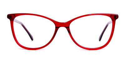 wine red translucent cat eye glasses