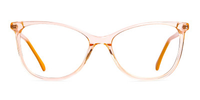 Crystal Clear or Transparent orange Colour Cat eye Glasses Frames