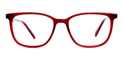 Dark Red Wayfarer and Rectangular Glasses Frames