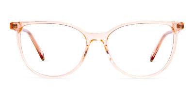 Orange Colour Crystal Clear or Transparent Cat eye Glasses Frames