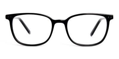 Glossy Black Rectangular Glasses Frames