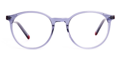 crystal clear and transparent grey round glasses