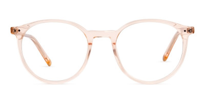 transparent and crystal clear orange round glasses frames