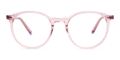 transparent or crystal clear blossome and nude pink round glasses frames