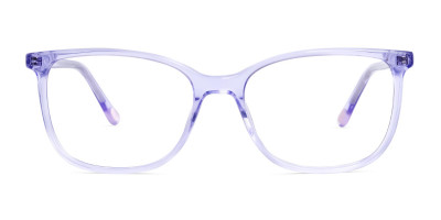 transparent and crystal clear purple wayfarer cateye glasses frames