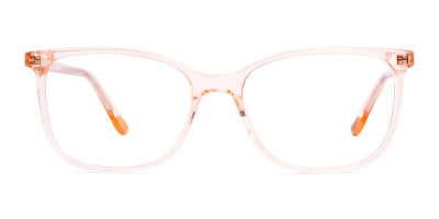 crystal clear and transparent tinted orange wayfarer cat eye glasses frames