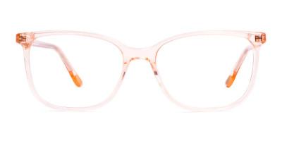 crystal clear and transparent tinted orange wayfarer cat eye glasses frames