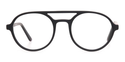 Matte Black & Red Double Bridge Glasses Frame Unisex