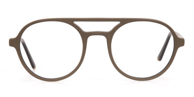 Oak Brown and Tortoise Designer Round Eyeglasses