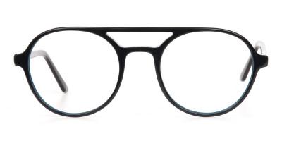Black & Turquoise Double Bridge Glasses in Round