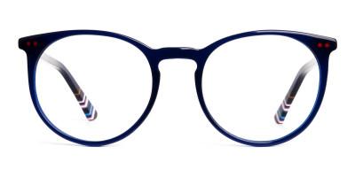 Bright Indigo Blue Designer Round Glasses frames