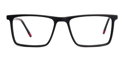 matte black full rim rectangular glasses frames