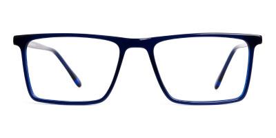 indigo blue full rim rectangular glasses frames