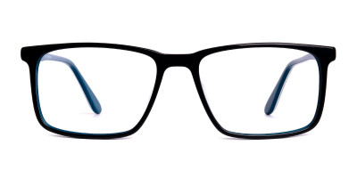 black teal full rim rectangular glasses frames