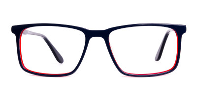 blue and red full rim rectangular glasses frames