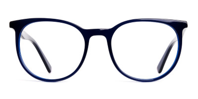 blue full rim round glasses frames
