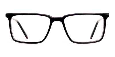 dark purple rectangular full rim glasses frames