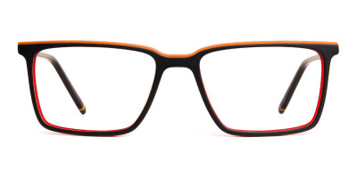 black and orange rectangular full rim glasses frames