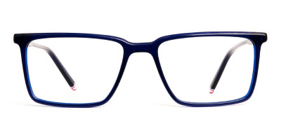 navy blue and red rectangular glasses frames