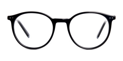 black and silver round glasses frames