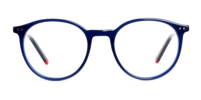 blue and red round glasses frames