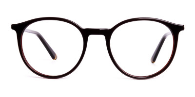 brown round full rim glasses frames