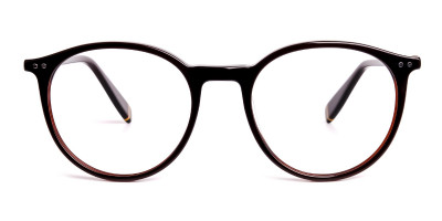 dark brown round full rim glasses frames