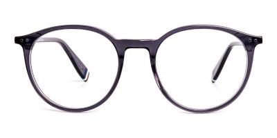crystal grey round shape glasses