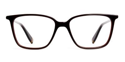 brown glasses in rectangular cat eye frames