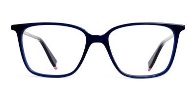 blue glasses in rectangular cat eye frames