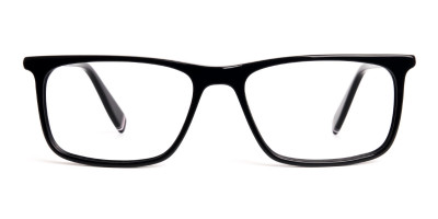 designer black glasses in rectangular shape frames