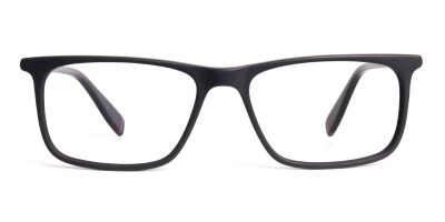 matte black glasses rectangular shape frames