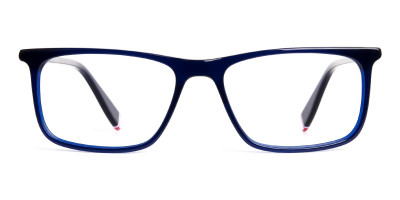 indigo blue glasses rectangular shape frames