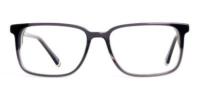 dark grey shiny rectangular glasses frames