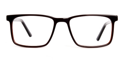 designer dark brown rectangular glasses frames
