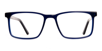 navy blue rectangular glasses frames