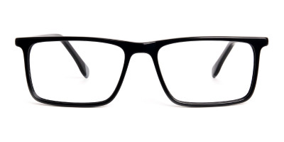 black and grey rectangular glasses frames
