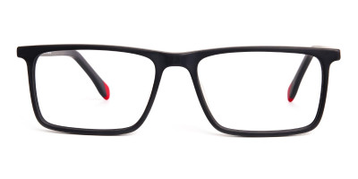 matte grey and red rectangular glasses frames