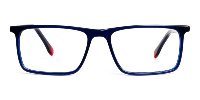 blue and red rectangular glasses frames
