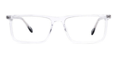 transparent and black rectangular glasses frames