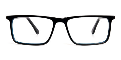black and teal rectangular glasses frames