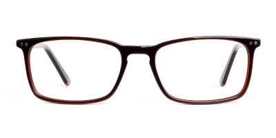 brown glasses rectangular shape frames