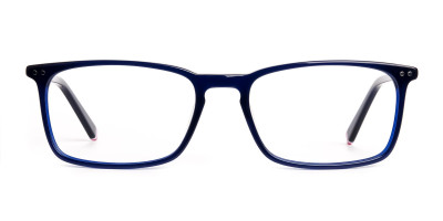 blue glasses in rectangular shape frames
