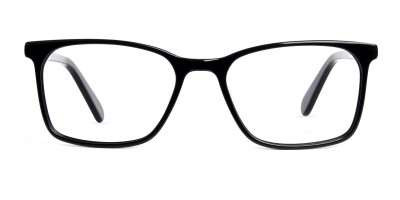black and transparent rectangular glasses frames